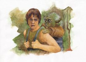 Luke and Yoda at Dagobah by TessaChen