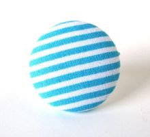 Big blue ring turquoise white winter stripes by KooKooCraft