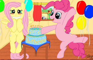 Happy Birthday Fluttershy! by Alaxandir