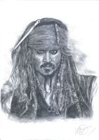 Pencil Sketching-Jack Sparrow by PrinceFen