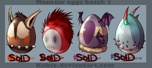 Monster eggs 1 -CLOSED- by Kiibie-Adopt