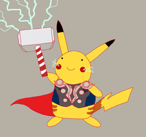 Pikachu evolved into ... Thor? by ice-cream-skies