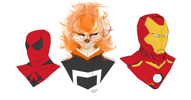 Day 224-Spiderman, Ghost Rider and Iron man 3 by Dan21Almeida95