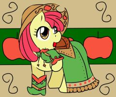 Apple Bloom Trying on Apllejacks Dress by shatishamararie