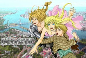 edward and winry and alphonse by ladykylie
