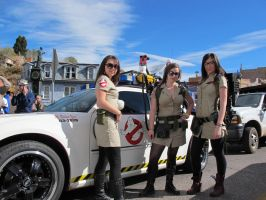 Ghostbuster Girls and Ecto-1 by Boomerjinks