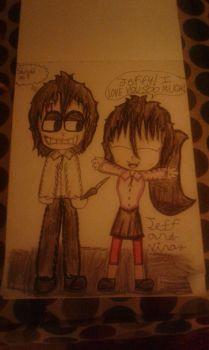 Jeff the Killer and Nina the Killer (Not Shipped) by gabby11201