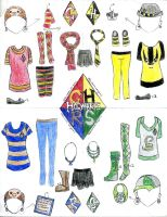 Hogwarts House clothes by thehugsmonster