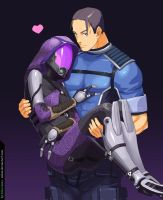 Tali'Zorah and Shepard by iSohei