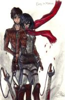 Eren X Mikasa.. All is ok, I am here with you. by IXxSerrartexXI