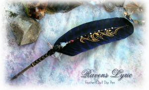 RAVENS LYRIC Blue Feather Pen by ChaeyAhne