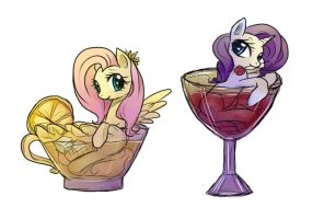 LemonTea Fluttershy and Wine Rarity by keterok