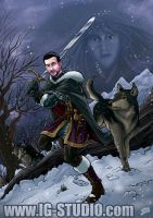 Swordman and wolves by soyivang