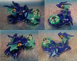 Dark Blue Dice Dragon by Alexandrite-Dragons