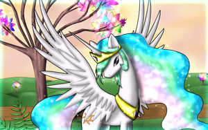 Celestia and the Rainbow Tree - 1440X900 by fluffycawwot