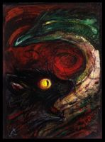 ACEO - Cat and Dragonsnake by Lupuna