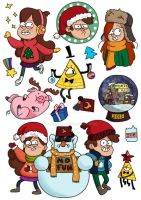 Stickers for SALE: New Year in Gravity Falls by RenRoyal