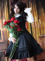 Infanta Lace Up Jacquard Cotton Lolita Dress by miccostumes