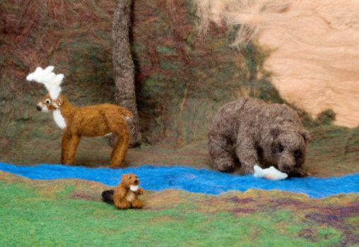 Catching Trout- Felted Fuzzies by feltAliza