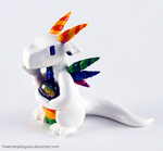 White Rainbow Clay Dragon by HowManyDragons