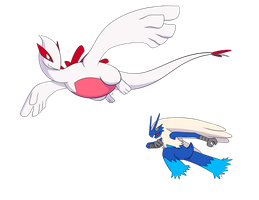 Shiny Lugia and Blue Blaziken by Aeroire