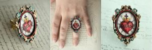 Hand Drawn/Painted Sacred Heart Ring by asunder
