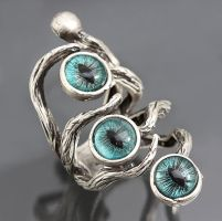 Eyes In The Night Evil Eye Ring by byrdldy
