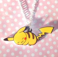 Super cute sleeping Pikachu Pokemon necklace by KawaiiMoon24