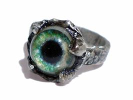 Bague etain, oeil vert/Tin Ring, green eye by glo0bule