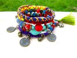 Beads and Knots Gypsy Cuff by pestenkerani