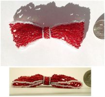 Red Bead Ribbon Pin by pinkythepink