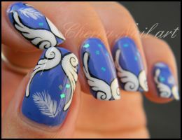 Nail art ailes grecques by cherrynailart