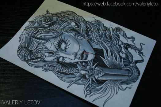 demon girl tattoo sketch by ValeriyLetov