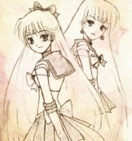 Sailor Venus and Mars by jenifuru