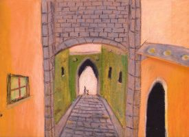 Old town oil pastels by sanntta82