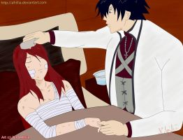Gray Take Care of Erza by afrillia