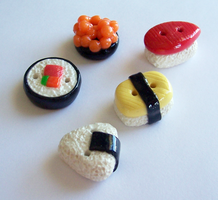 Decorative Sushi Buttons by SeaOfCreations