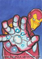 Avengers Iron Man Sketch card by JoeOiii