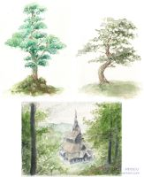 Watercolor trees by Ragnarulf