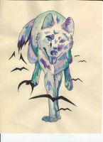 Watercolor Wolf Tattoo Design by lmclawson
