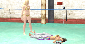 Christie beaten by Lili on a boxing ring (view1) by the3dsolehunter
