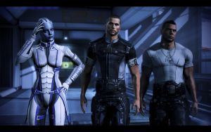 Commander Shepard, Liara and Vega by donabruja