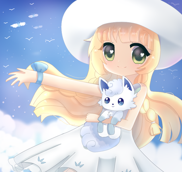 Lillie and Alola Vulpix + SPEEDPAINT! by jeash022