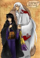 Sesshomaru and Kagome by WhiteYoukai