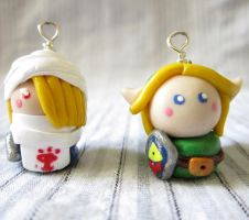 Link and Sheik charms by TrenoNights