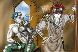 Steampunk Arion and Cian by CrazyAndHyper