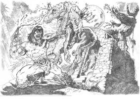 Conan vs Raptor by Nardius