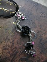 Black Rose - Swirling Storm Silver Pendant by LadyPirotessa