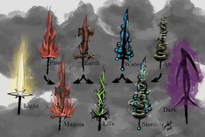 Elemental weapon concepts by KrausC