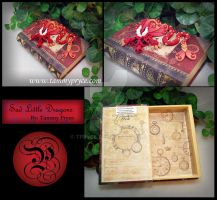 Red Dragon on vintage steampunk style Book by Tpryce